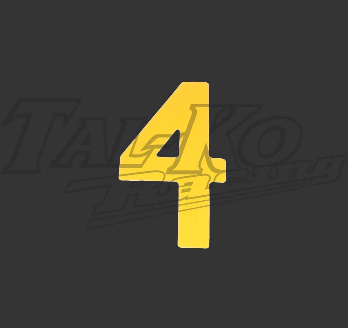 STICK ON NUMBER YELLOW FOUR