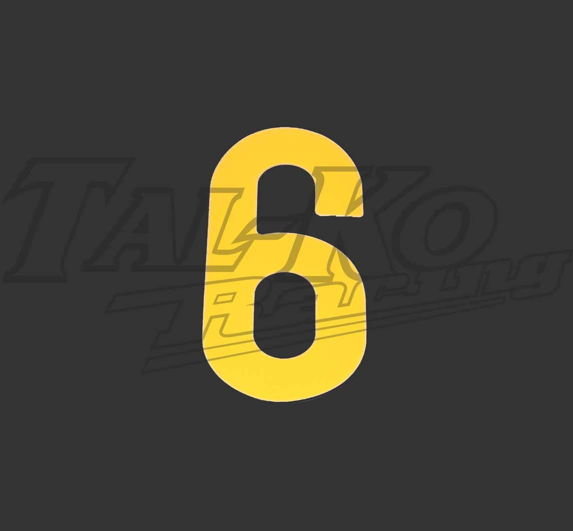 STICK ON NUMBER YELLOW SIX